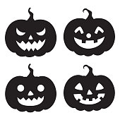 Halloween,holiday,silhouette,pumpkin,face,set,vegetable,season,design,element,icon