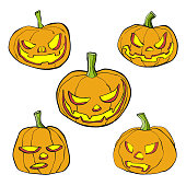 Vector illustration of a set of pencil drawing halloween pumpkins