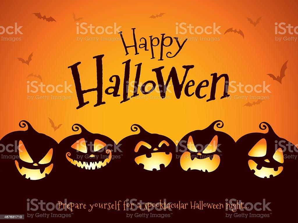 Halloween pumpkins - ilustración de arte vectorial