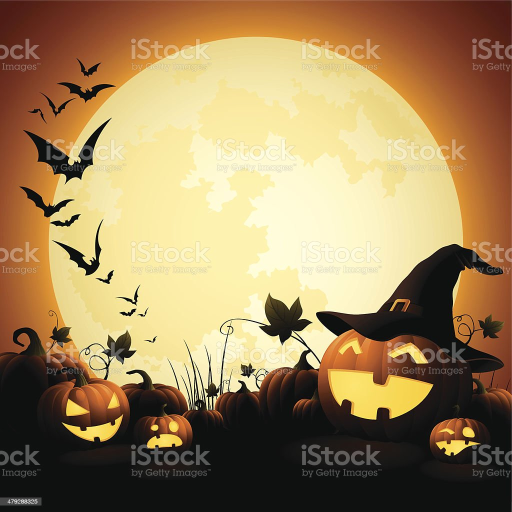 Halloween Pumpkins - Witch's Hat vector art illustration