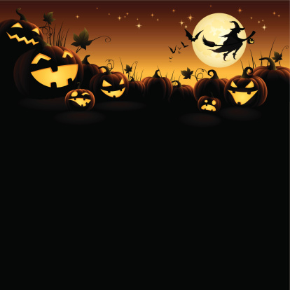 Halloween pumpkins with flying witch