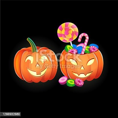 Halloween pumpkins with sweets. Cartoon vector illustration. Icon for games and mobile application.