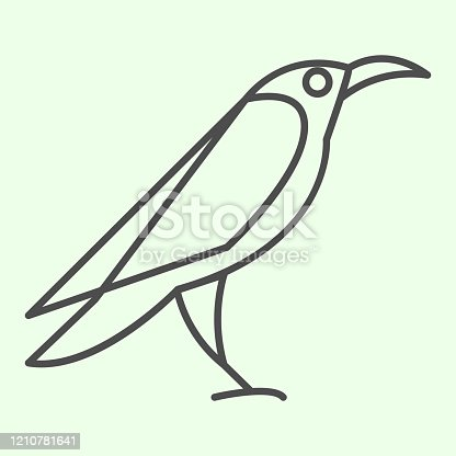 istock Halloween raven thin line icon. Mystical gothic rook bird outline style pictogram on white background. Evil or witch wild crow silhouette for mobile concept and web design. Vector graphics. 1210781641