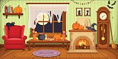 Vector illustration of living room with armchair, table, clock and fireplace decorated for Halloween party.
