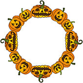 Scalable vectorial image representing a Halloween round frame with pumpkin, isolated on white.