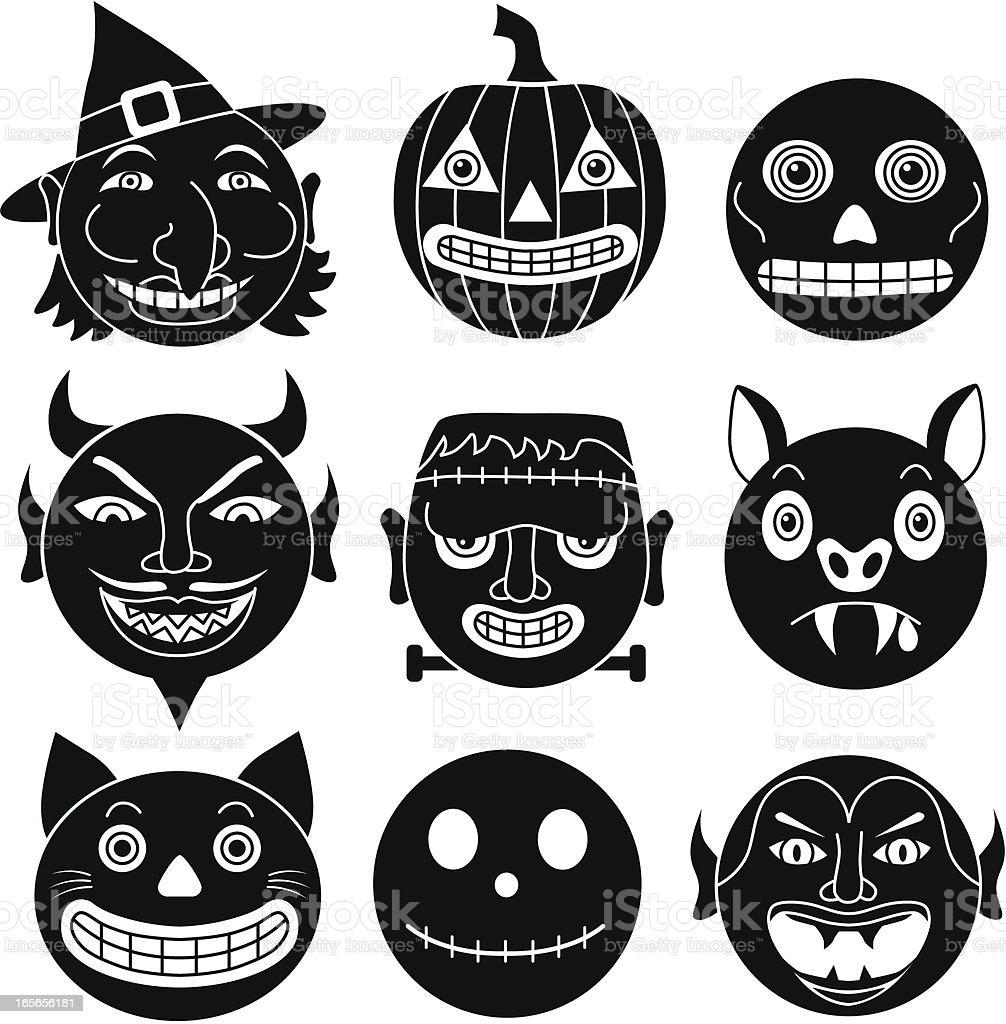 Halloween round heads royalty-free stock vector art