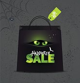 Halloween sale  background. Halloween banner for online shopping with halloween symbols and text. Vector illustration.