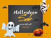Halloween Sale banner or poster design with 50% discount offer, ghost, scary pumpkin and zombie hand on yellow and grey background.