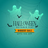 halloween sale banner with ghosts and flying bats
