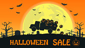 Halloween sale banner with truck carry smile pumpkin on the full moon background - Vector illustration