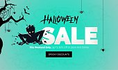 Halloween sale banner. Scary zombie getting out from ground. Mobile website social media banner, poster, email and newsletter design, ad, promotional material. Vector illustrations