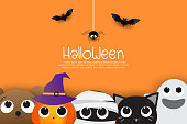 Halloween sale banners or party invitation background. Vector illustration of Halloween theme background.