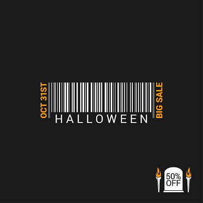 Halloween Sale Bar code Design Background