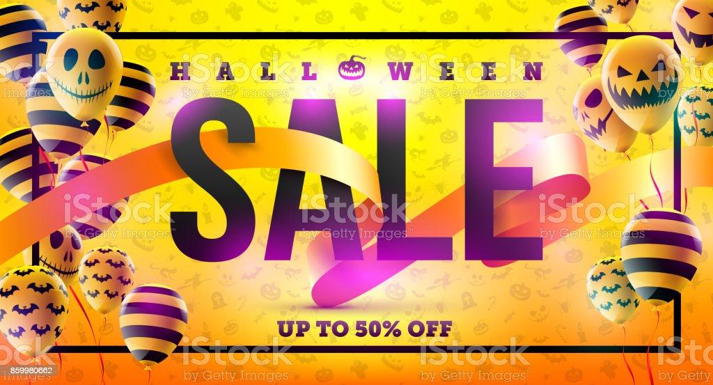 Halloweensalekonzept Mit Halloween Ghost Balloonsscary Luftballons