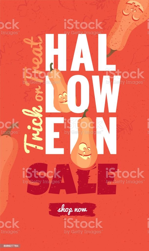 Halloween Sale Cute Funny Banner With Holiday Symbol Pumpkin Stock