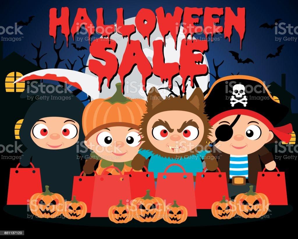 halloween sale design background with funny kids stock vector art