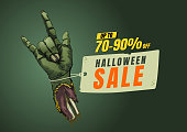 Halloween sale design template.  banner tag. Vector illustration.