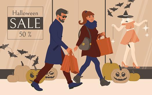 Halloween sale in store showcase