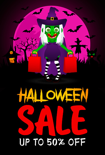 Halloween sale poster, banner with funny scary witch. Sale Halloween graphic design