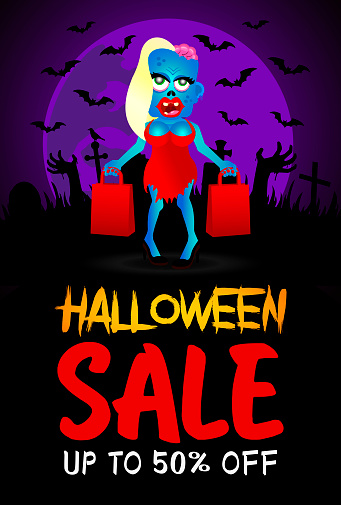 Halloween sale poster, banner with funny zombie girl. Sale Halloween graphic design.