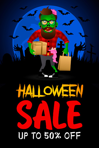 Halloween sale poster, banner with funny zombie hipster. Sale Halloween graphic design