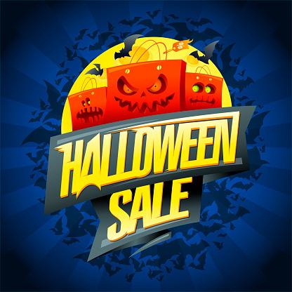 Halloween sale poster or web banner bector design concept