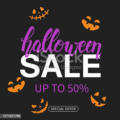 istock Halloween Sale poster with hand drawn lettering. Up to 50%. Special offer 1271521790