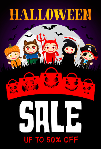 Halloween Sale poster with scary funny packages. Funny kids in Halloween costumes. Halloween sale banner design with 50 Discount