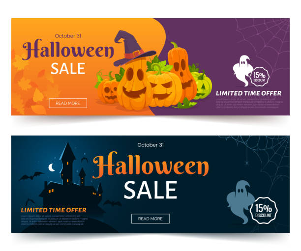 halloween sale promo web banner. colorful halloween coupons with spooky pumpkins, castle and ghsots. festive advertising coupon. vector illustration. - halloween stock illustrations