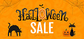 Halloween Sale Promotion Banner on Orange Background with Cat and Cobweb. Vector Illustration.