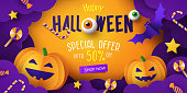 Halloween Sale Promotion banner with cutest pumpkins, bat and candy in night clouds. Paper cut, digital craft style. Halloween web Sale design, poster, party invitation or greeting card template
