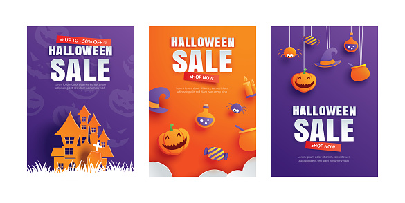 Halloween sale promotion template with paper art element design for flyer, banner, poster, discount, advertising.