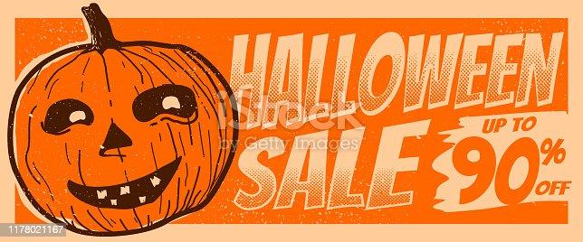 halloween sale up to 90% standard size pop under web banner orange vintage ancient retro style illustration