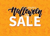 Halloween Sale vector banner with lettering and detailed engravi