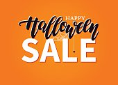 Halloween Sale vector banner with lettering, spider and web. Gre