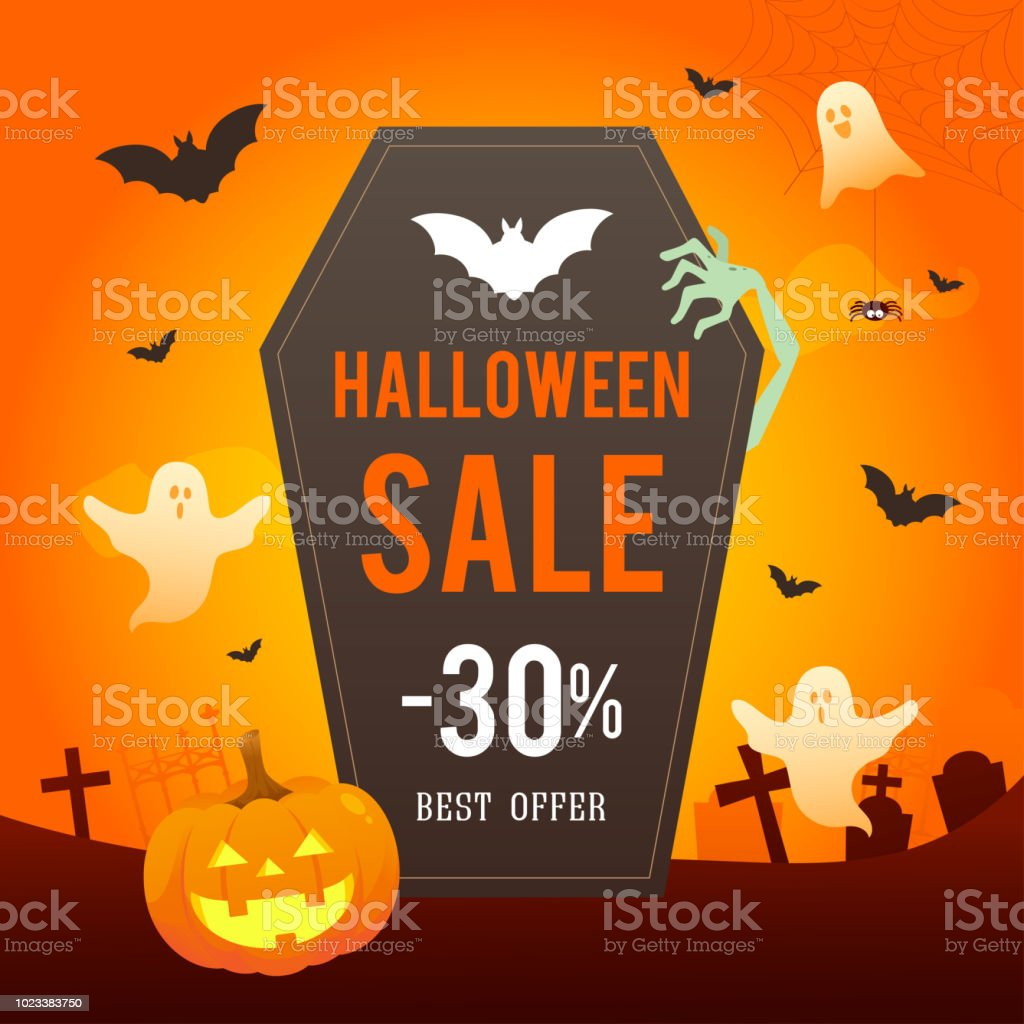 halloween sale vector illustration coffin with spooky ghost on orange background royalty free