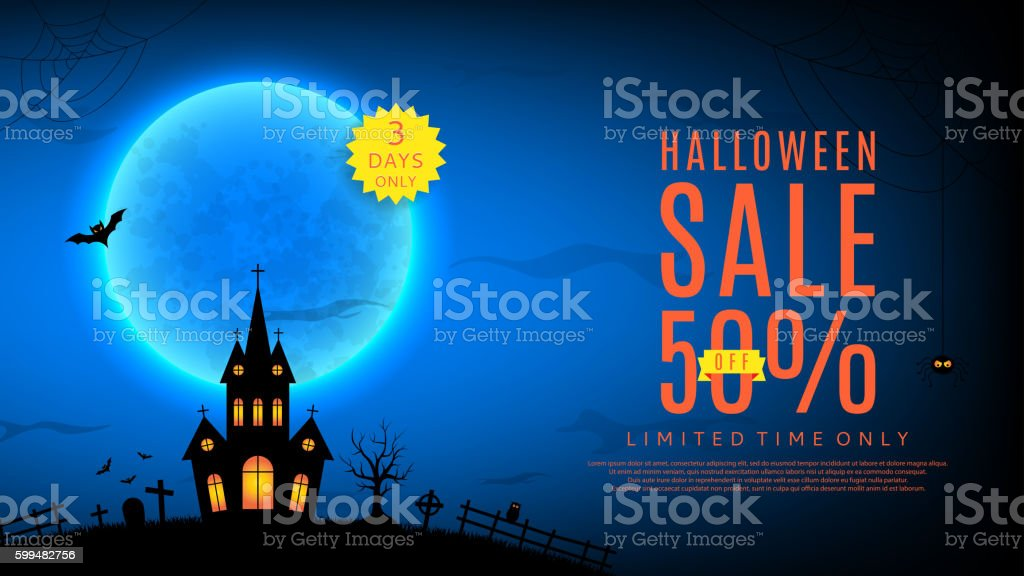 Halloween sale web banner vector art illustration