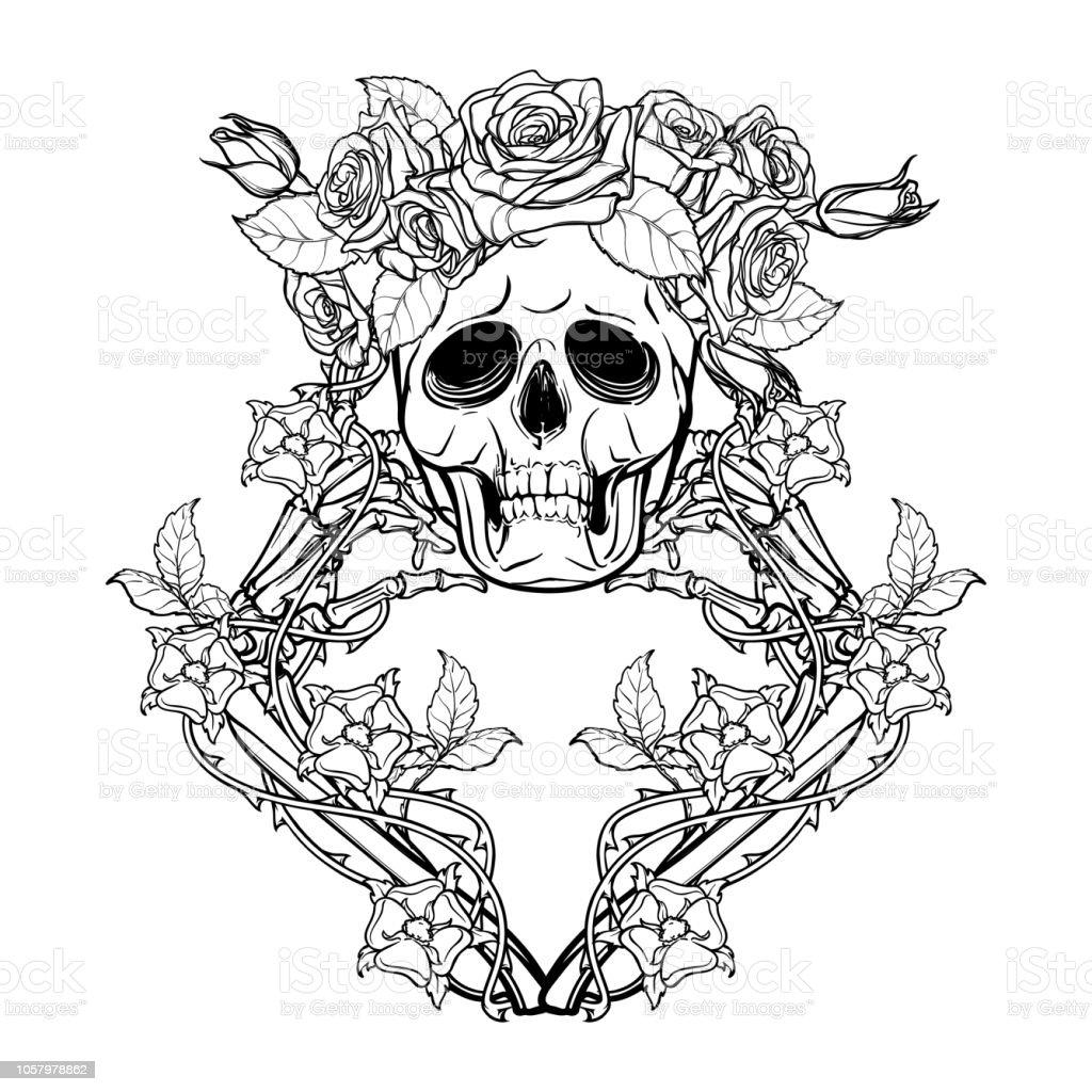 Ilustración De Halloween Santa Muerte Cráneo Humano En Un Rosa