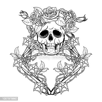 Halloween Santa Muerte. Human skull in a rose wreath and hand bones in dog-rose garlands. Mystical character. Tattoo design. Isolated on white background.