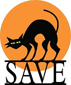 Vector illustration of a black cat standing on a SAVE sign with an orange moon behind it.