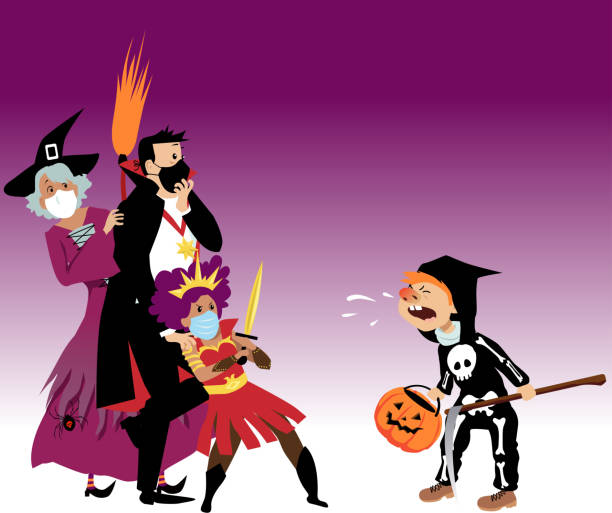 2020 Halloween scare Family in Halloween costumes wearing protective face masks scared of a unmasked child, sniffing at them and spreading germs, EPS 8 vector illustration halloween covid stock illustrations