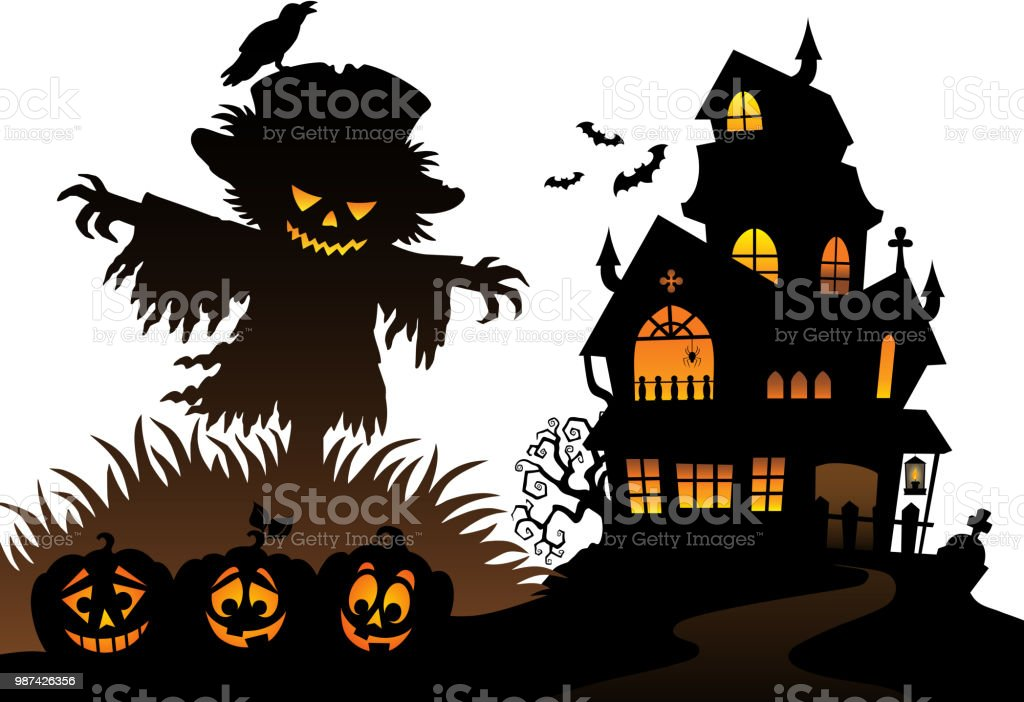 Halloween Thema.Halloween Scarecrow Silhouet Thema 3 Stockvectorkunst En