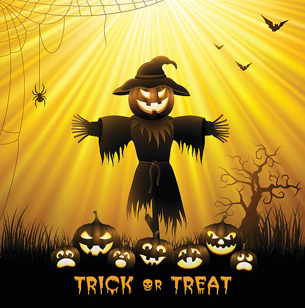 Halloween Scarecrow High Resolution JPG,CS6 AI and Illustrator EPS 10 included. Each element is named,grouped and layered separately. Very easy to edit. scary halloween scene silhouettes stock illustrations