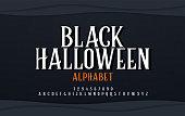 istock Halloween scary alphabet font. Typography black halloween logo designs concept. vector illustration 1017460354