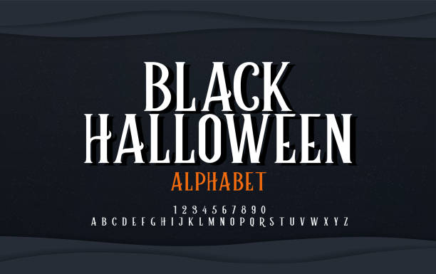 halloween scary alphabet font. typography black halloween logo designs concept. vector illustration - halloween stock illustrations