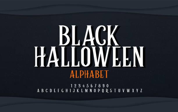 illustrazioni stock, clip art, cartoni animati e icone di tendenza di halloween scary alphabet font. typography black halloween logo designs concept. vector illustration - orrore