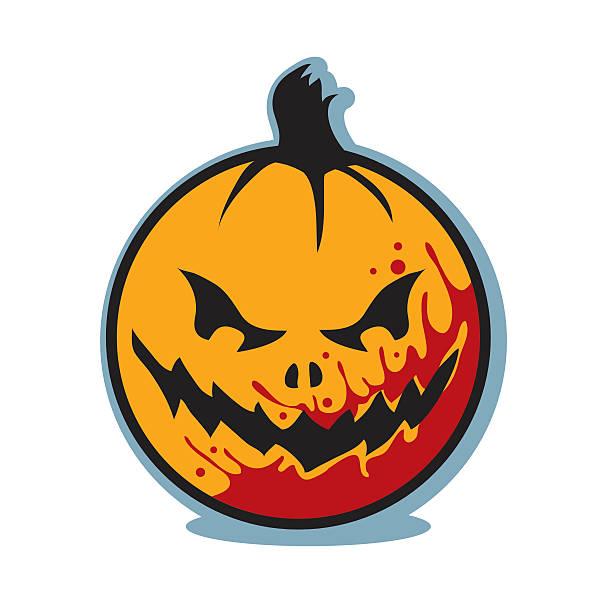 Halloween scary bloody jack o lantern pumpkin vector art illustration