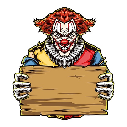 Halloween scary clown with wooden plank