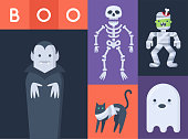 Halloween scary creatures, vampire, skeleton, zombie, mummy black cat and ghost. Vector illustration.