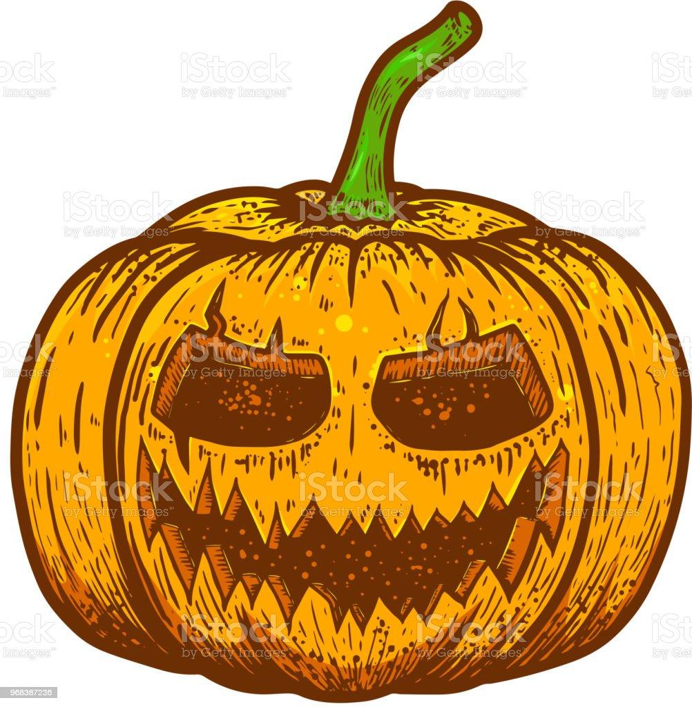 Ilustracion De Dibujo Calabaza Asustadizo De Halloween Sobre Fondo - Calabaza-hallowen